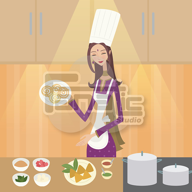 Female chef showing Indian food