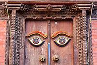 Nepal, Kathmandu.  Doorway to Recently Reconstructed Hindu Temple, Tunal Devi Dyochen, Dedicated to Vaisnavi, Female Counterpart to Shiva.