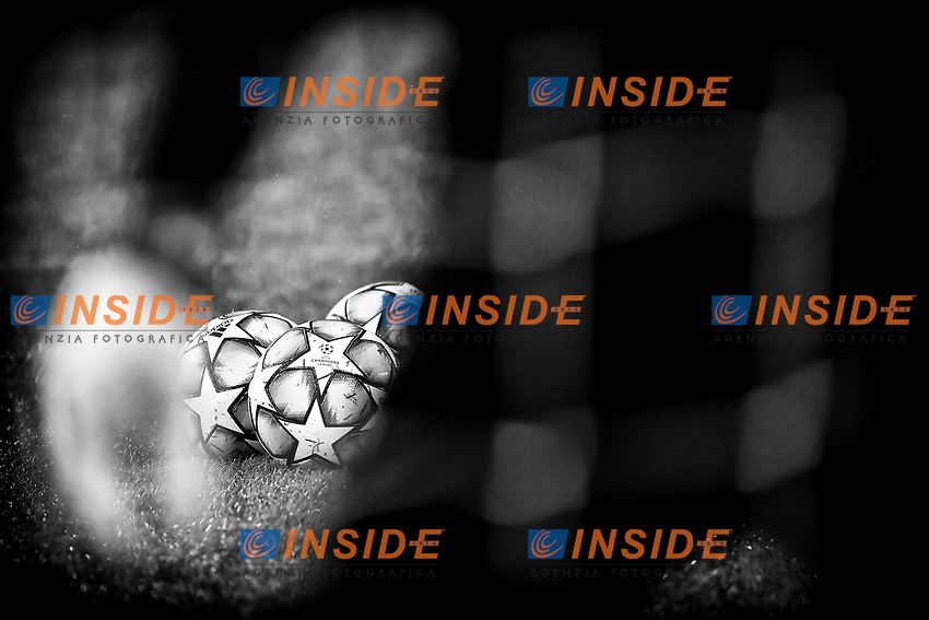 Some official Adidas champions league balls are seen between goalkeeper's glove and body during the Champions League Group Stage F football match between SS Lazio and Club Brugge at stadio Olimpicoin Rome (Italy), December, 8th, 2020. Photo Andrea Staccioli / Insidefoto