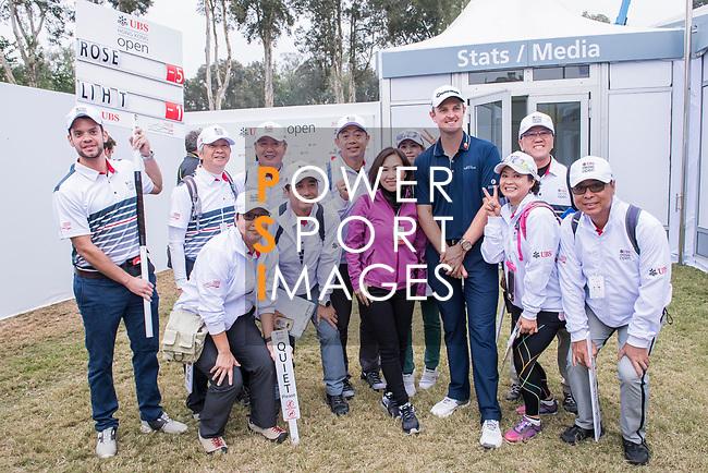 Justin Rose of England poses for a photo with the fans during the day three of UBS Hong Kong Open 2017 at the Hong Kong Golf Club on 25 November 2017, in Hong Kong, Hong Kong. Photo by Marcio Rodrigo Machado / Power Sport Images