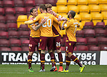 Motherwell v St Johnstone….07.05.16  Fir Park, Motherwell<br />Scott McDoanld celebrates his goal<br />Picture by Graeme Hart.<br />Copyright Perthshire Picture Agency<br />Tel: 01738 623350  Mobile: 07990 594431