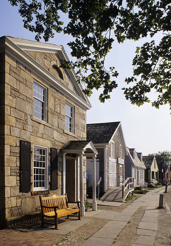Mystic, Connecticut.Street along the wharf in Old Mystic Seaport.
