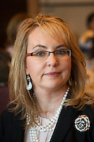 Gabrielle Giffords, former Arizona US Representative, shot during Congress on Your Corner, a constituent meeting in a supermarket parking lot, author of Enough about responsible gun ownership and co-founder of Americans for Responsible Solutions working on gun control, in Boston 2016