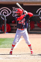 Peoria Chiefs outfielder Magneuris Sierra (19) at bat during a game against the Wisconsin Timber Rattlers on April 25th, 2015 at Fox Cities Stadium in Appleton, Wisconsin.  Wisconsin defeated Peoria 2-0.  (Brad Krause/Four Seam Images)