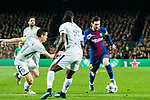 Lionel Andres Messi (R) of FC Barcelona fights for the ball with Victor Moses (C) and Cesar Azpillicueta of Chelsea FC during the UEFA Champions League 2017-18 Round of 16 (2nd leg) match between FC Barcelona and Chelsea FC at Camp Nou on 14 March 2018 in Barcelona, Spain. Photo by Vicens Gimenez / Power Sport Images