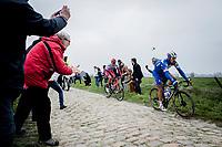 Philippe GILBERT (BEL/Deceuninck-Quick Step) and Nils Pollit (GER/Katusha Alpecin) on their way to the Roubaix Velodrome) <br /> <br /> 117th Paris-Roubaix (1.UWT)<br /> 1 Day Race: Compiègne-Roubaix (257km)<br /> <br /> ©kramon