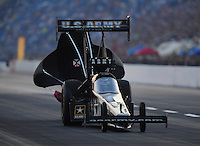 Jul, 9, 2011; Joliet, IL, USA: NHRA top fuel dragster driver Tony Schumacher during qualifying for the Route 66 Nationals at Route 66 Raceway. Mandatory Credit: Mark J. Rebilas-