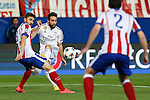 Atletico de Madrid's Siqueira (L) and Real Madrid´s Daniel Carvajal during quarterfinal first leg Champions League soccer match at Vicente Calderon stadium in Madrid, Spain. April 14, 2015. (ALTERPHOTOS/Victor Blanco)