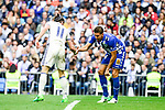 Real Madrid's Gareth Bale and Deportivo Alaves's Zouhair Feudal during La Liga match between Real Madrid and Deportivo Alaves at Stadium Santiago Bernabeu in Madrid, Spain. April 02, 2017. (ALTERPHOTOS/BorjaB.Hojas)