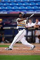 Canisius College Golden Griffins left fielder Cyrus Senior (17) at bat during the first game of a doubleheader against the Michigan Wolverines on February 20, 2016 at Tradition Field in St. Lucie, Florida.  Michigan defeated Canisius 6-2.  (Mike Janes/Four Seam Images)