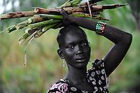 SOUTH SUDAN  Bahr al Ghazal region , Lakes State, town Rumbek , portrait of Dinka woman carrying sugarcane