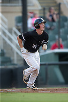 Cody Daily (31) of the Kannapolis Intimidators hustles down the first base line against the Lakewood BlueClaws at Kannapolis Intimidators Stadium on May 10, 2016 in Kannapolis, North Carolina.  The BlueClaws defeated the Intimidators 5-3.  (Brian Westerholt/Four Seam Images)