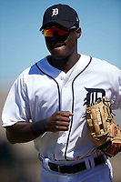 Detroit Tigers Daz Cameron (38) jogs to the dugout during an Instructional League game against the Toronto Blue Jays on October 12, 2017 at Joker Marchant Stadium in Lakeland, Florida.  (Mike Janes/Four Seam Images)