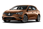 Stock pictures of low aggressive front three quarter view of 2020 Renault Megane Edition-One 5 Door Hatchback Low Aggressive