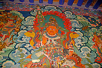 Mural of protector deity in the entrance way of the Jokhang Temple, Lhasa, Tibet.
