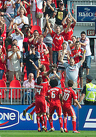 24 July 2010: Toronto FC forward Maicom Santos # 29 celebrates his goal in the second half during a game between FC Dallas and Toronto FC at BMO Field in Toronto..The final score was a 1-1 draw...