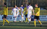 SCT Menen - RC Harelbeke :<br /> juichende spelers van Harelbeke na een doelpunt<br /> <br /> Foto VDB / Bart Vandenbroucke