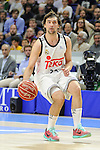 Real Madrid´s Sergio Llull during 2014-15 Liga Endesa match between Real Madrid and Unicaja at Palacio de los Deportes stadium in Madrid, Spain. April 30, 2015. (ALTERPHOTOS/Luis Fernandez)