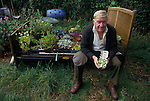 Gooseberry grower at allotment. Egton Bridge Gooseberry Show Yorkshire. UK 1990s.
