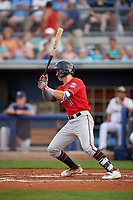 Fort Myers Miracle Michael Helman (8) at bat during a Florida State League game against the Charlotte Stone Crabs on April 6, 2019 at Charlotte Sports Park in Port Charlotte, Florida.  Fort Myers defeated Charlotte 7-4.  (Mike Janes/Four Seam Images)