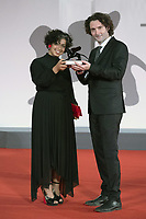 """Directors Barry Gene Murphy and May Abdalla receive the Grand Jury Prize for Best Virtual reality for """"Goliath: Playing with Reality"""" from Venice VR Expanded during the Winners Red Carpet as part of the 78th Venice International Film Festival in Venice, Italy on September 11, 2021. <br /> CAP/MPI/IS/PAC<br /> ©PAP/IS/MPI/Capital Pictures"""
