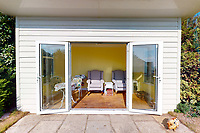 BNPS.co.uk (01202 558833)<br /> Pic: Savills/BNPS<br /> <br /> Pictured: The outside pod.<br /> <br /> A clifftop home with breathtaking panoramic sea views is on the market for £3.25m.<br /> <br /> Sandpierre also has a private swimming pool and a viewing platform overlooking the beach with 180-degree views of the water. <br /> <br /> The six-bedroom family home is on the Bournemouth/Poole coastline in Dorset and is being sold for the first time in 25 years.<br /> <br /> The house was built in the 1930s and is in a quiet cul-de-sac in Branksome Dene Chine - midway between the town centres of Bournemouth and Poole.