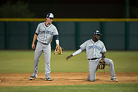 AZL Padres 1 shortstop Jarryd Dale (5) and second baseman Luis Guzman (7) during an Arizona League game against the AZL Cubs 1 at Sloan Park on July 5, 2018 in Mesa, Arizona. The AZL Cubs 1 defeated the AZL Padres 1 3-1. (Zachary Lucy/Four Seam Images)