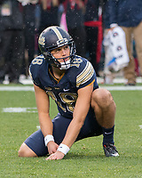 Pitt punter Ryan Winslow gets ready to hold the ball for the extra point. The Pitt Panthers defeated the Virginia Cavaliers 31-14 at Heinz Field, Pittsburgh, PA on October 28, 2017.