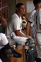 Charleston Riverdogs catcher Gary Sanchez #36 in the dugout during a game against the Delmarva Shorebirds at Joseph P. Riley Ballpark in Charleston, South Carolina on July 10, 2011. Charleston defeated Delmarva 2-0.   Robert Gurganus/Four Seam Images