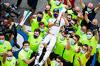 6th September 2020; Autodromo Nazionale Monza, Monza, Italy ; Formula 1 Grand Prix of Italy, Race Day;  10 Pierre Gasly FRA, Scuderia AlphaTauri Honda celebrating victory with the team