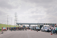 """""""exceptional transport"""": free & exclusive passage for the peloton entering the Tijsmans tunnel under the Antwerp harbour<br /> <br /> Antwerp Port Epic 2018 (formerly """"Schaal Sels"""")<br /> One Day Race:  Antwerp > Antwerp (207 km; of which 32km are cobbles & 30km is gravel/off-road!)"""