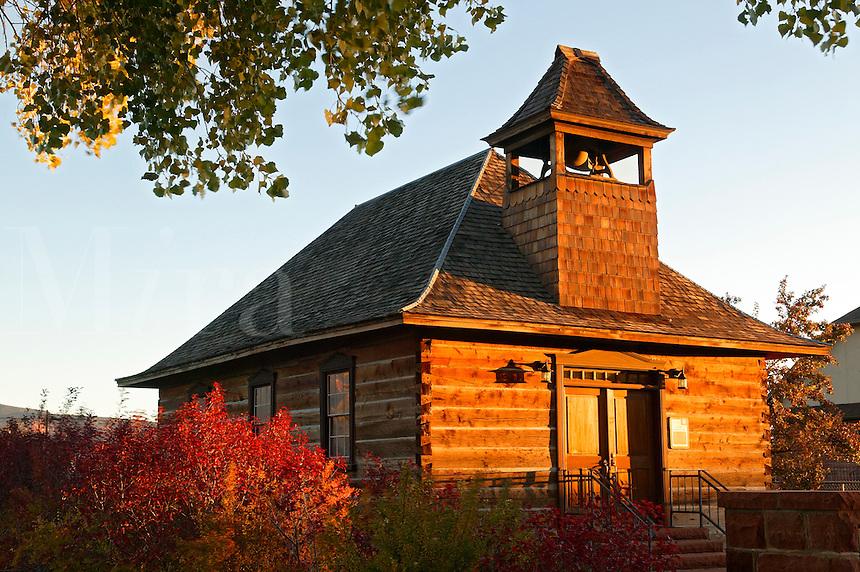 Historic Torrey log school and church, Torrey, Utah, gateway to Capital Reef National Park.