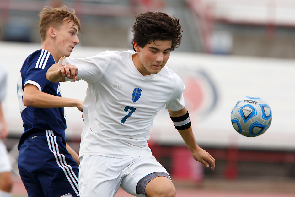 Mishawaka Marian's Christian Juarez (7) plays the ball during the IHSAA Class A Boys Soccer State Championship Game on Saturday, Oct. 29, 2016, at Carroll Stadium in Indianapolis. Marian won 4-0. Special to the Tribune/JAMES BROSHER