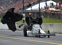 Sep 14, 2019; Mohnton, PA, USA; NHRA top fuel driver Mike Salinas during qualifying for the Reading Nationals at Maple Grove Raceway. Mandatory Credit: Mark J. Rebilas-USA TODAY Sports