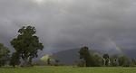 rainbow across the kowhitirangi valley, westcoast, south island, new zealand