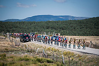 peloton led by Team Jumbo-Visma for red jersey (overall leader) Primoz Roglic (SVK/Jumbo-Visma) up the Puerto de la Morcuera<br /> <br /> Stage 18: Colmenar Viejo to Becerril de la Sierra (178km)<br /> La Vuelta 2019<br /> <br /> ©kramon