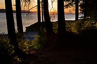 Sunset along the shore of Revillagigedo Island, near Ketchikan, southeast, Alaska.