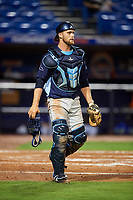 Charlotte Stone Crabs catcher Joey Roach (8) during the second game of a doubleheader against the St. Lucie Mets on April 24, 2018 at First Data Field in Port St. Lucie, Florida.  St. Lucie defeated Charlotte 5-3.  (Mike Janes/Four Seam Images)