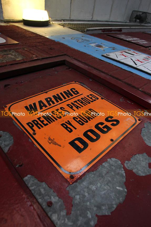 A warning sign ahead of West Ham United Ladies vs Tottenham Hotspur Ladies, FA Women's Premier League Football at the Boleyn Ground, Upton Park