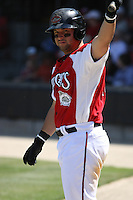 Yonder Alonzo #19 of the Carolina Mudcats on deck during a game against the Chattanooga Lookouts on on May 9, 2010 in Zebulon, NC.