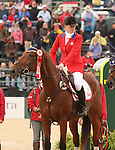 03 October 2010.  Selena O'Hanlon and Colombo during the awards ceremony.    Canada finished 2nd in the Eventing team standings, taking home the Silver Medal.