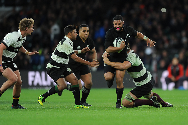 Lima Sopoaga of New Zealand in action during the 125th Anniversary Match between Barbarians and New Zealand at Twickenham Stadium on Saturday 4th November 2017 (Photo by Rob Munro/Stewart Communications)