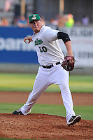 Aaron Brooks #50 of the Clinton LumberKings pitches against the South Bend Silver Hawks at Ashford University Field on July 26, 2014 in Clinton, Iowa. The Sliver Hawks won 2-0.   (Dennis Hubbard/Four Seam Images)