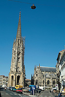 Renovating the tower of the Basilica of St. Michael in Bordeaux, France.
