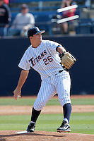 J.D. Davis #26 of the Cal State Fullerton Titans during a game against the TCU Horned Frogs at Goodwin Field on February 26, 2012 in Fullerton,California. Fullerton defeated TCU 11-10.(Larry Goren/Four Seam Images)