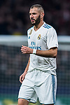 Karim Benzema of Real Madrid reacts during the La Liga 2017-18 match between Atletico de Madrid and Real Madrid at Wanda Metropolitano  on November 18 2017 in Madrid, Spain. Photo by Diego Gonzalez / Power Sport Images