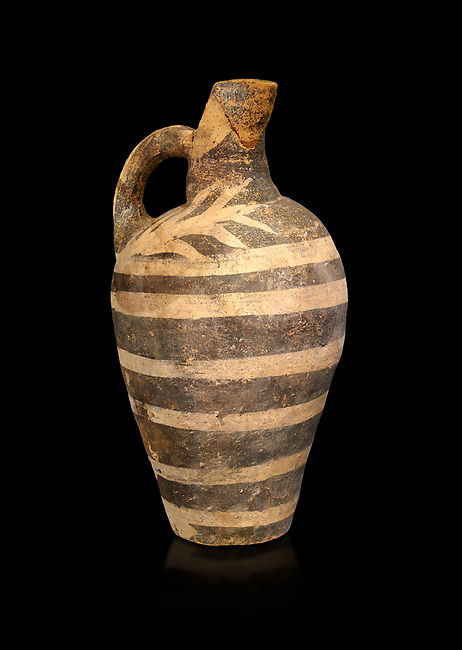 Minoan decorated Kamares  style jug with comncentric ring pattern, Poros cemetery 1800-1650 BC; Heraklion Archaeological  Museum, black background.