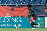 FOXBOROUGH, MA - AUGUST 7: Isaac Angking #5 of New England Revolution II brings the ball forward during a game between Orlando City B and New England Revolution II at Gillette Stadium on August 7, 2020 in Foxborough, Massachusetts.