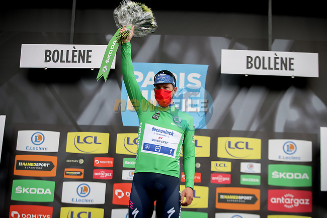 Green Jersey Sam Bennett (IRL) Deceuninck-Quick Step wins Stage 5 of Paris-Nice 2021, running 200km from Vienne to Bollene, France. 11th March 2021.<br /> Picture: ASO/Fabien Boukla | Cyclefile<br /> <br /> All photos usage must carry mandatory copyright credit (© Cyclefile | ASO/Fabien Boukla)