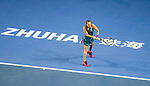 Barbora Strycova of Czech Republic hits a return during the singles Round Robin match of the WTA Elite Trophy Zhuhai 2017 against Sloane Stephens of United Sates at Hengqin Tennis Center on November  03, 2017 in Zhuhai, China.  Photo by Yu Chun Christopher Wong / Power Sport Images